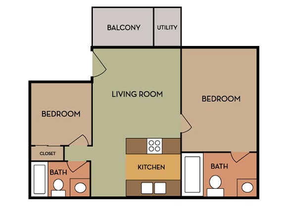 Floorplan for Hillside Terrace   Apartments