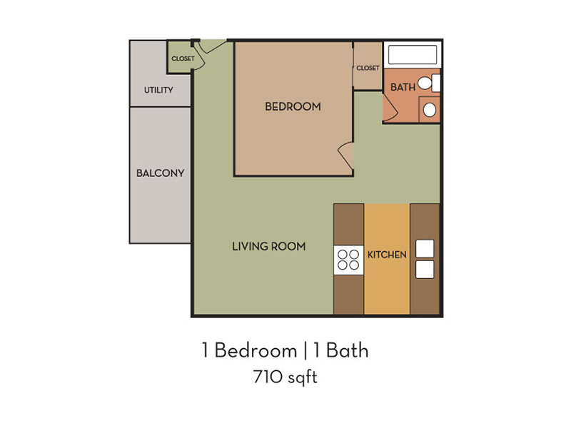Our 1 Bedroom is a 1 Bedroom, 1 Bathroom Apartment