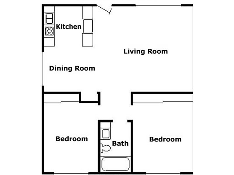 Our 2 Bedroom is a 2 Bedroom, 1 Bathroom Apartment