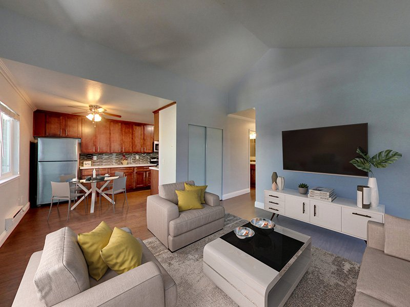 Living Room | 3 Bedroom | Hampshire Apartments in Redwood City, CA