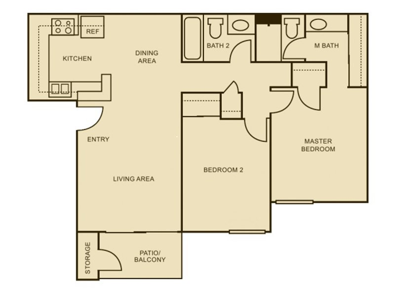 Our 2x2 - Enhanced is a 2 Bedroom, 2 Bathroom Apartment