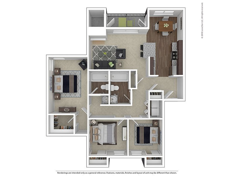 Our C2-1165 is a 3 Bedroom, 2 Bathroom Apartment