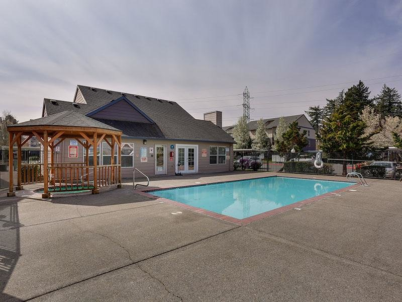 Gresham Apartments - Stark Street Crossings Gated Swimming Pool with Gazebo Covered Hot Tub Nearby