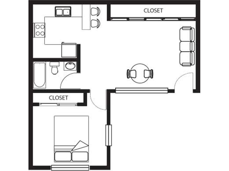 Our One bedroom home is a 1 Bedroom, 1 Bathroom Apartment