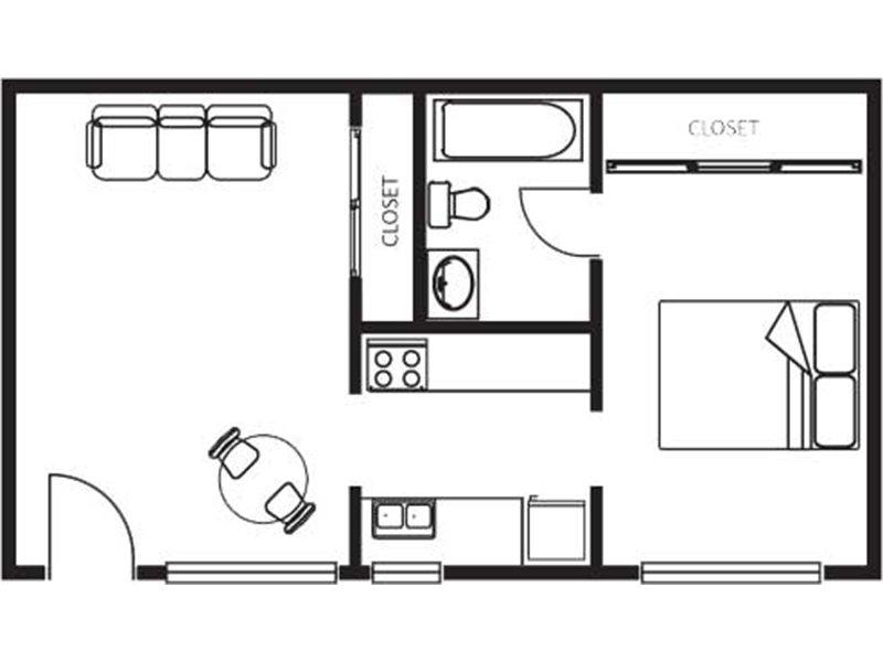 Our One Bedroom Suite is a STUDIO Bedroom, 1 Bathroom Apartment