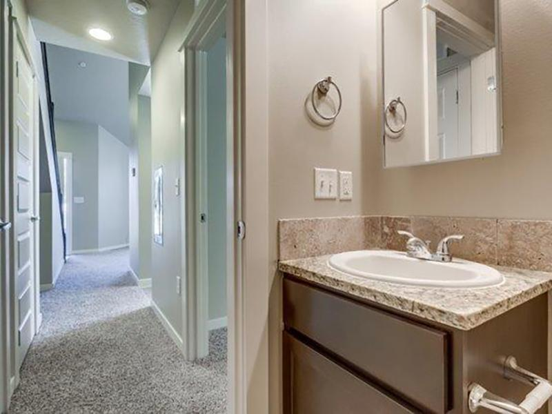 Bathroom & Hallway | Stonesthrow Townhomes in Meridian, ID