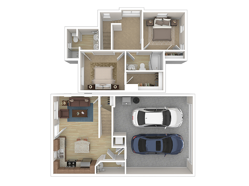 Our Cottage 1 is a 2 Bedroom, 2.5 Bathroom Apartment