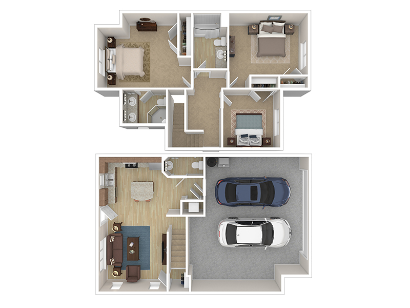 Our Cottage 2 is a 3 Bedroom, 2.5 Bathroom Apartment