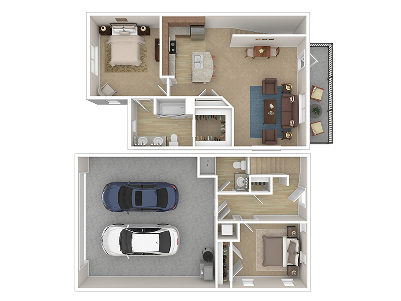 Our Cottage 3 is a 2 Bedroom, 2 Bathroom Apartment