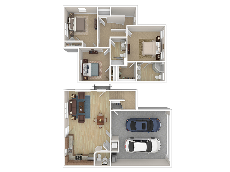 Our Cottage 5 is a 3 Bedroom, 2.5 Bathroom Apartment