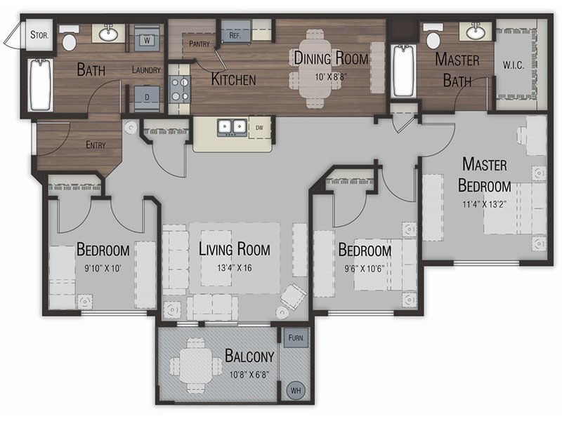 Our three Bedroom two Bathroom is a 3 Bedroom, 2 Bathroom Apartment