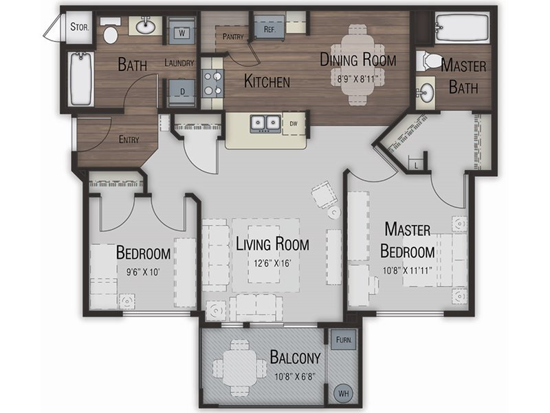 Our two Bedroom 2.5 Bathroom is a 2 Bedroom, 2.5 Bathroom Apartment