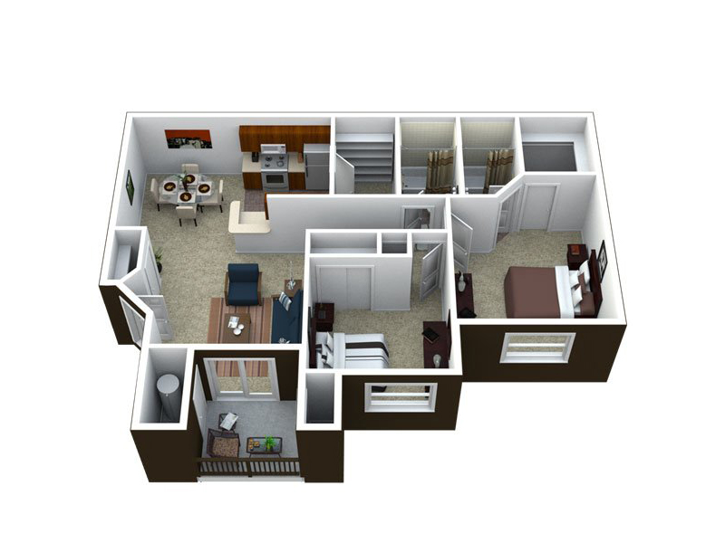 Our B2-1072 is a 2 Bedroom, 2 Bathroom Apartment