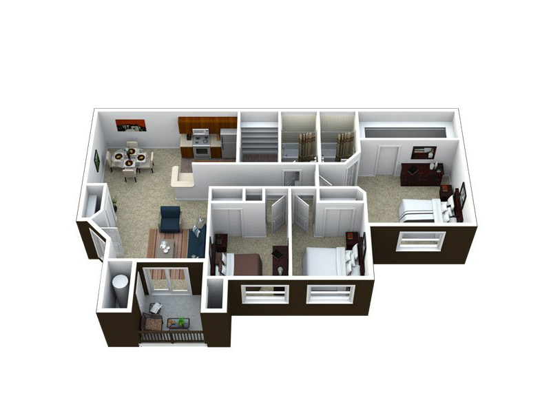 Our C2-1295 is a 3 Bedroom, 2 Bathroom Apartment