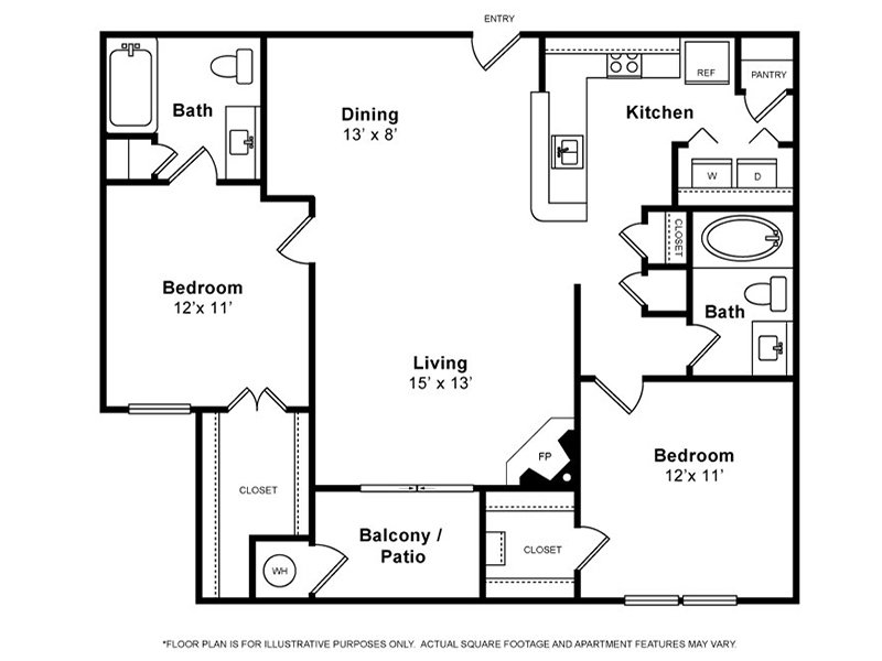 Our Cottonwood is a 2 Bedroom, 2 Bathroom Apartment