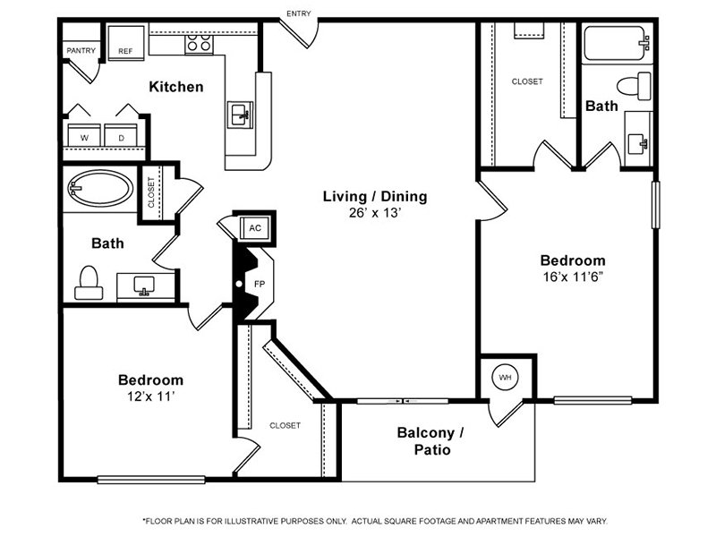 Our Cypress is a 2 Bedroom, 2 Bathroom Apartment