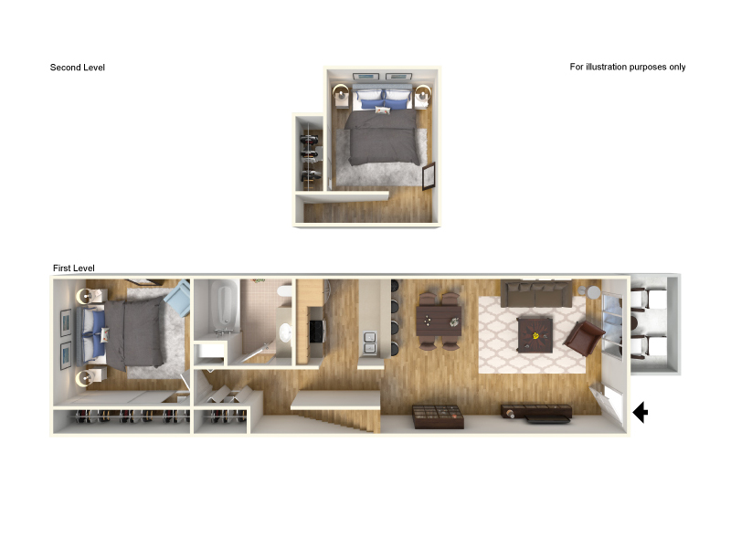Our Two Bedroom Loft is a 2 Bedroom, 1 Bathroom Apartment