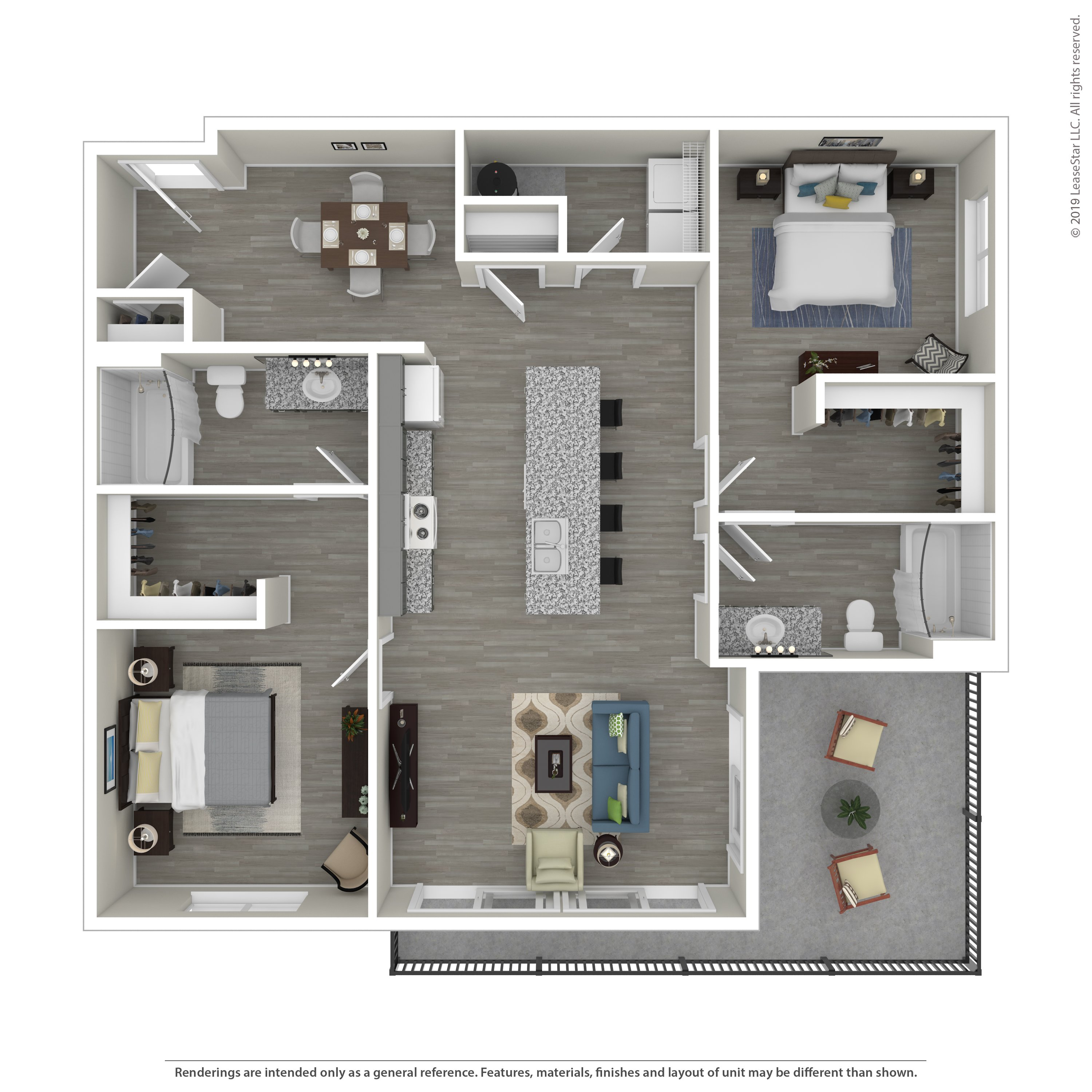 Our Monroe Large is a 2 Bedroom, 2 Bathroom Apartment