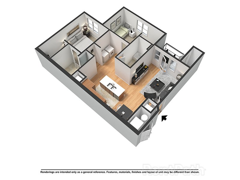 Our Coral (H) is a 2 Bedroom, 2 Bathroom Apartment
