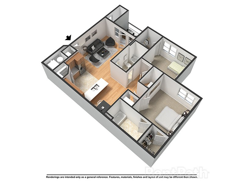 Our Hudson is a 2 Bedroom, 2 Bathroom Apartment