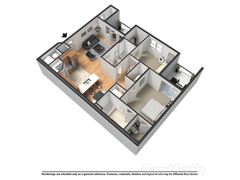 Our Rio is a 2 Bedroom, 2 Bathroom Apartment