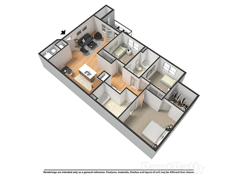 Our Victoria (H) is a 3 Bedroom, 2 Bathroom Apartment