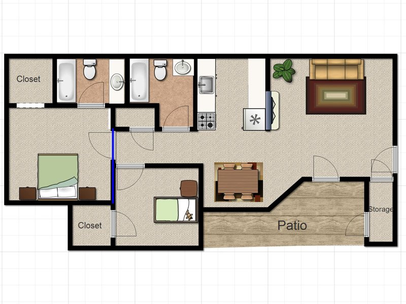 Our MAPLE is a 2 Bedroom, 2 Bathroom Apartment