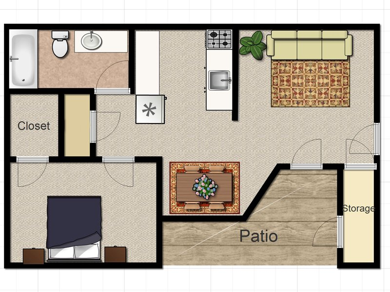 Our OAK is a 1 Bedroom, 1 Bathroom Apartment
