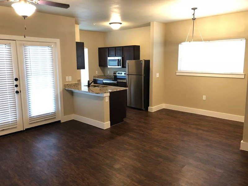 Living Room and Kitchen | Woodlands of Denton Apartments
