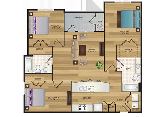 Floorplan for Cascadia Apartments