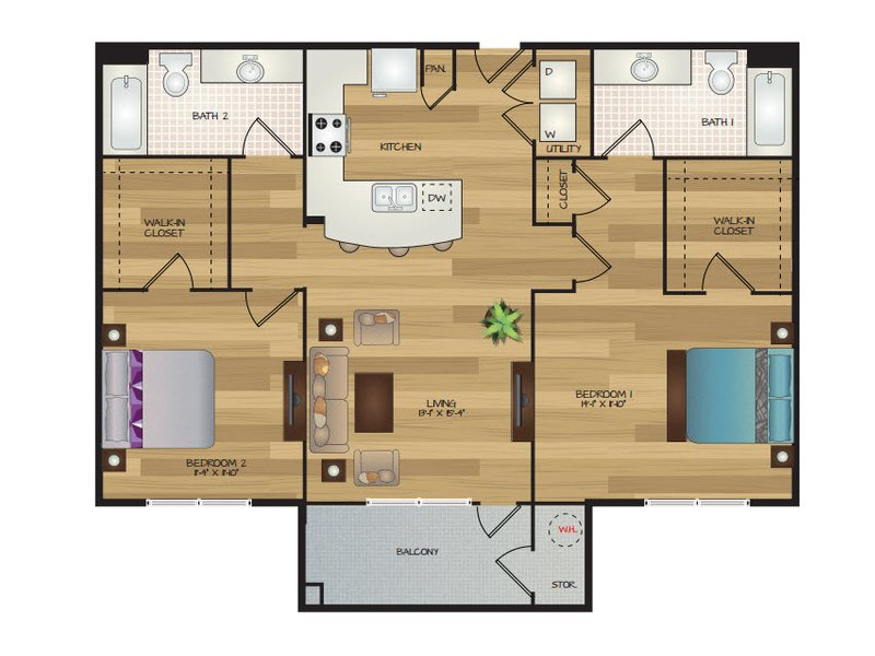 Our Coredelia G is a 2 Bedroom, 2 Bathroom Apartment