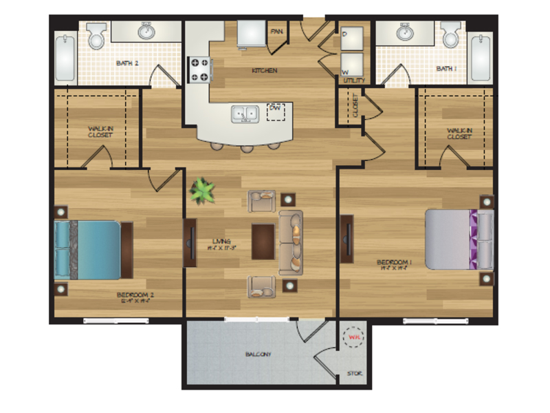Our Kailani is a 2 Bedroom, 1 Bathroom Apartment