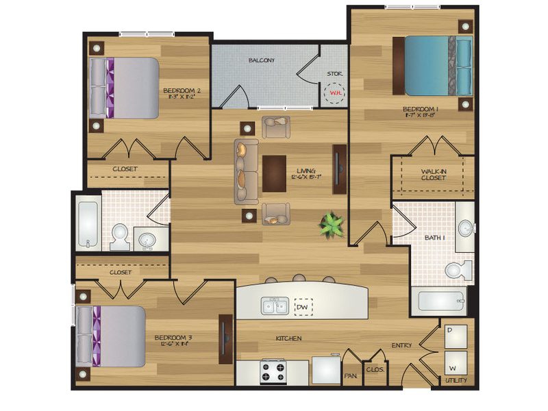 Our Trebor is a 3 Bedroom, 2 Bathroom Apartment