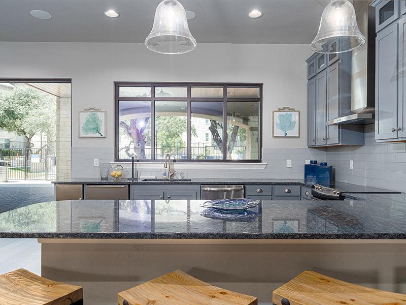 Clubhouse Kitchen | Cascadia Apartments in San Antonio, TX