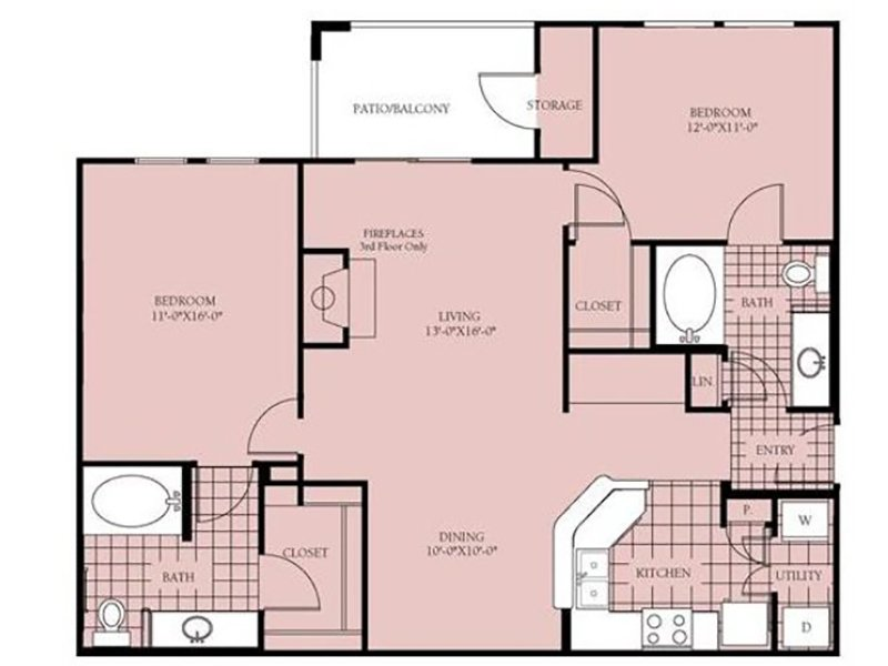 Our B2 - Madison is a 2 Bedroom, 2 Bathroom Apartment
