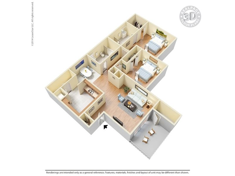 Our B2U is a 2 Bedroom, 2 Bathroom Apartment