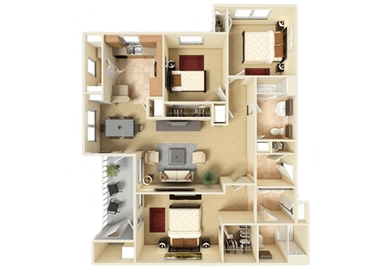 Floorplan for The Falls at Westover Hills Apartments
