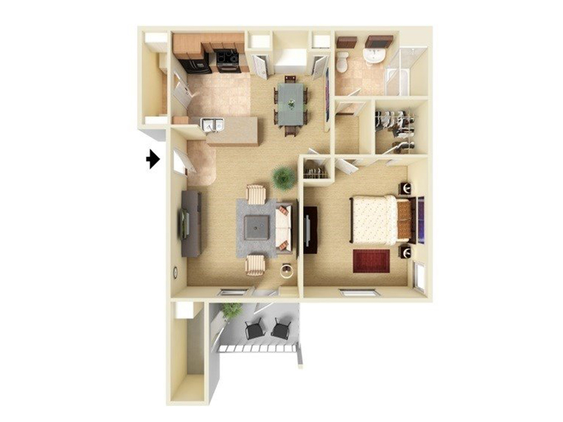 Our A1-727 is a 1 Bedroom, 1 Bathroom Apartment