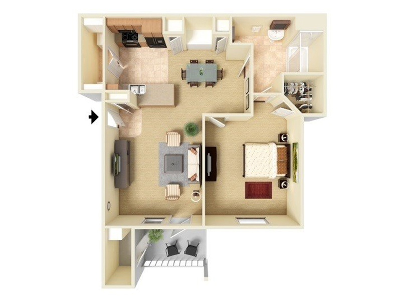 Our A1-755 is a 1 Bedroom, 1 Bathroom Apartment