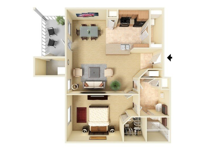 Our A1-772 is a 1 Bedroom, 1 Bathroom Apartment