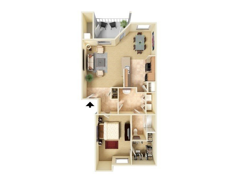 Our A1-796 is a 1 Bedroom, 1 Bathroom Apartment