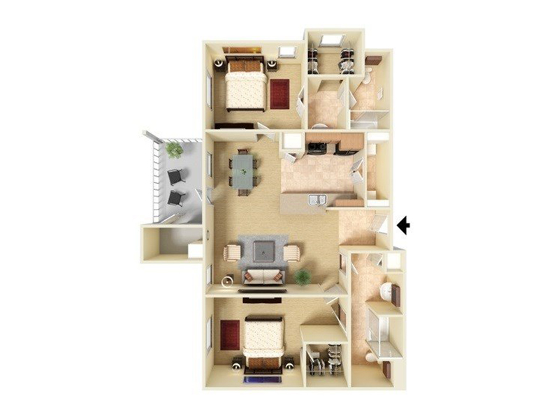 Our B2-1037 is a 2 Bedroom, 2 Bathroom Apartment