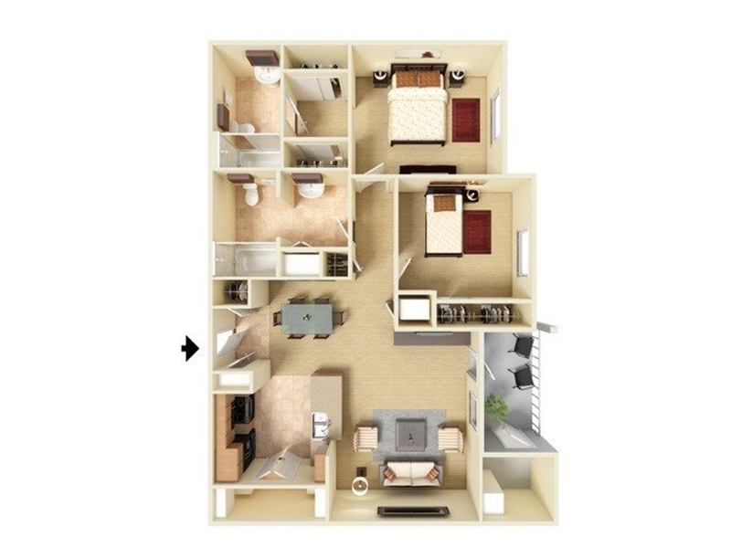 Our B2-984 is a 2 Bedroom, 2 Bathroom Apartment
