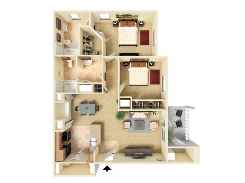 Our B2-993 is a 2 Bedroom, 2 Bathroom Apartment