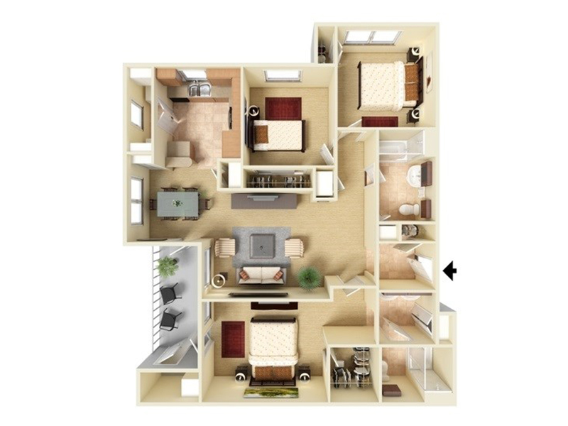 Our C2-1210 is a 3 Bedroom, 2 Bathroom Apartment