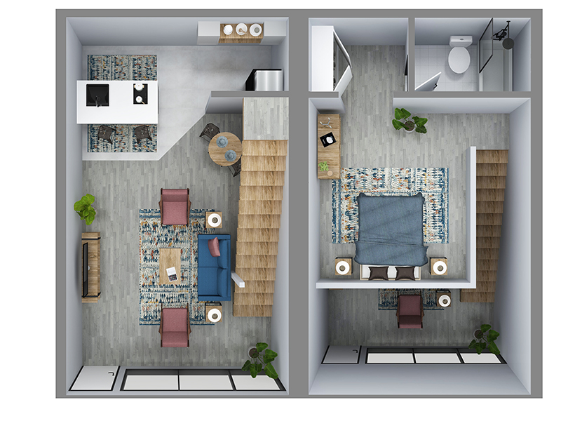 Our Townhouse is a 1 Bedroom, 1 Bathroom Apartment