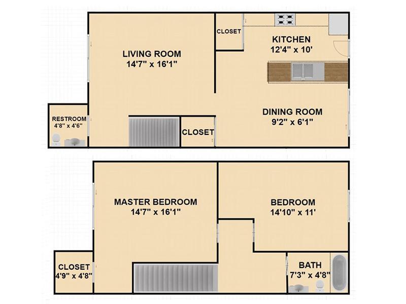 Our 2 Bedroom 1.5 Bathroom is a 2 Bedroom, 1.5 Bathroom Apartment