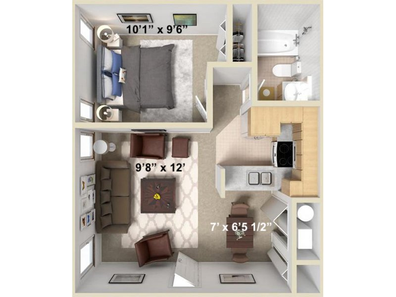 Our Uinta 2 is a 1 Bedroom, 2 Bathroom Apartment
