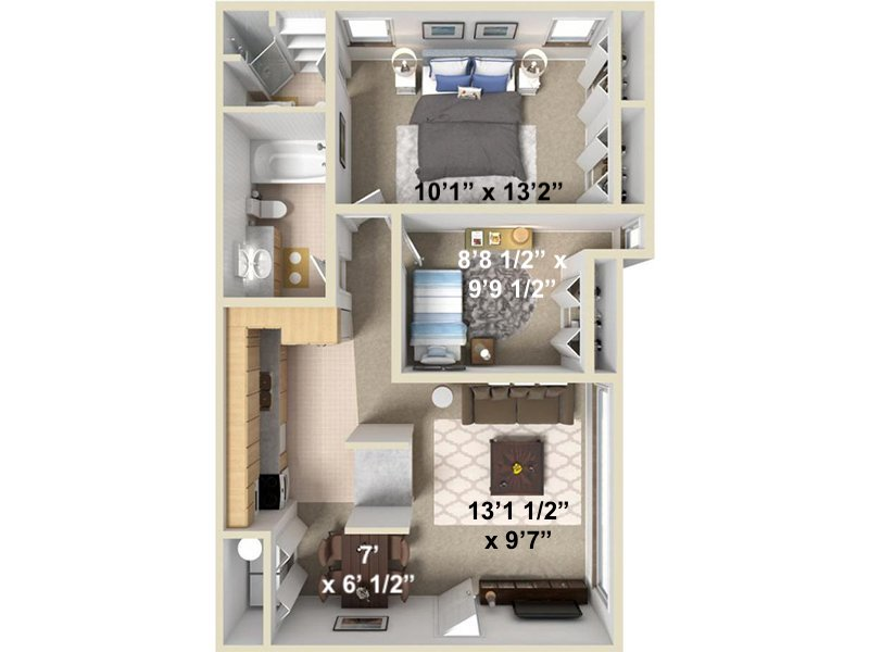 Our Wasatch is a 2 Bedroom, 2 Bathroom Apartment