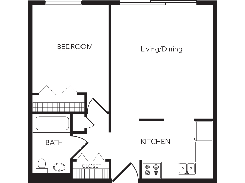 Our One Bedroom is a 1 Bedroom, 1 Bathroom Apartment